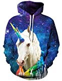 Rave on Friday Druck Sweatshirt 3D Grafik Hoodie Einhorn Cool Kapuzenpullover Tunnelzug Lange Ärmel Tops Pullover XL