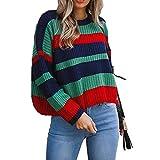 OSYARD Damen Gestreifte Patchwork Kleider, Frauen Winter Mode Lange ÄRmel Gestrickte Patchwork Tops Lockere Pullover Bluse (XL, Grün)