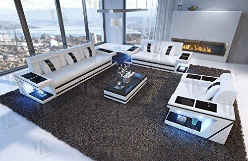 Designer Couch Paderborn 3er, 2er & Sessel weiss schwarz - 4