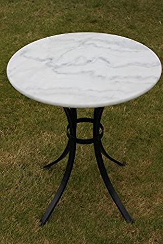White Marble Top Bistro Table - Ideal for the Patio, Garden or Indoors