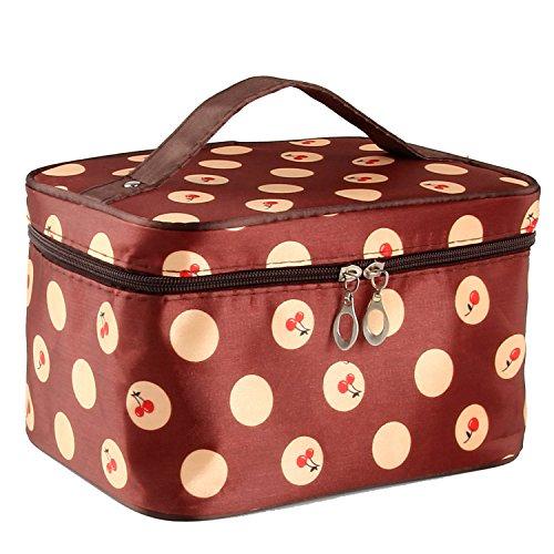 txian Lady y doble cremallera neceser bolso de mano Diseño de lunares bolsa de aseo Bolsa de maquillaje estuche de mano portátil bolsa
