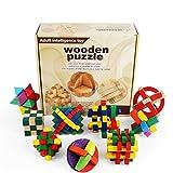 Joyeee 9 Piezas Cubo 3D Rompecabezas de Madera Juego Puzle #1 - Desafiar su Pensamiento lógico - Ideal Regalo y Decoración