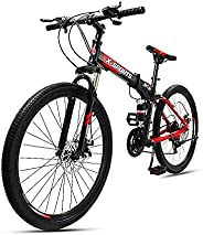 COOLBABY Mountain Bike 26 inch Folding Bikes with Iron mountain frame, Featuring Ordinary double cutter ring a
