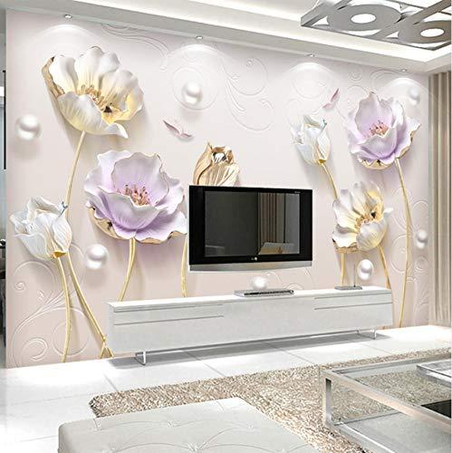 Kyzaa Benutzerdefinierte Fototapete Einfache Schmuck Dreidimensionale Tulpe Tapete Büro Sofa Wohnzimmer Tv Hintergrund 3D Wallpaper Wandbild