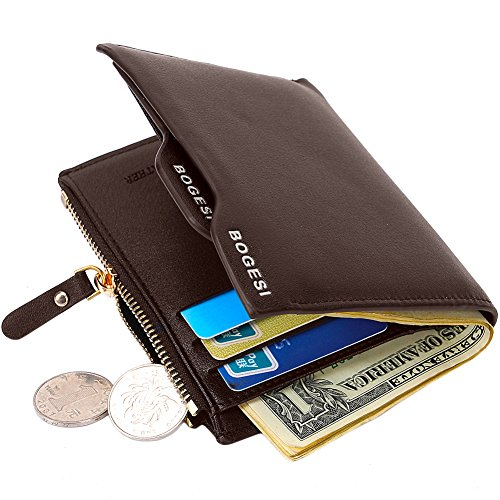 MPTECK @ Marron Portefeuille pour homme en PU cuir Porte monnaie avec poche à monnaie et porte-carte amovible compartiment à fermeture pour carte d'id...