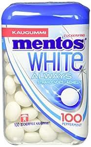 Mentos White Kaugummi | Pfefferminz Geschmack | Multipack mit 8 Dosen á 100 Stück | Zuckerfreie Zahnpflege