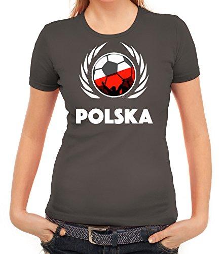 ShirtStreet Polska Poland Soccer Fussball WM Fanfest Gruppen Fan Wappen Damen T-Shirt Fußball Polen Dunkelgrau