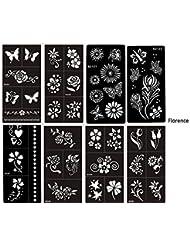 Mehandi Florence Lot de 8pochoirs modèle Sheets Fleurs et papillons Designs pour Henna, paillettes et Air Brush Tattoo Convient