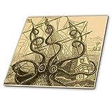 3dRose CT 164907_ 4Gigant Colossal Octopus Sea Monster Kraken. Pierre Denys De Montfort Keramik Fliesen, 12Zoll