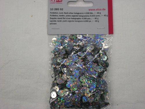 efco rund flach Pailletten, Silber Hologramm, 6mm, 40g, 4000-piece
