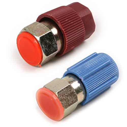 atoplee blau Niederdruck 1/10,2cm & Rot Hohe Druck 3/40,6cm Schraube Nipple/Adapter-R12-Anschluss zu Gelenk mit Quick Disconnect für Fahrzeug-Klimaanlage R134A (Hlk-anschluss)