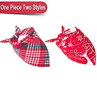 bingpet duplex plaid dog bandana christmas pet scarfs for puppy BINGPET Duplex Plaid Dog Bandana Christmas Pet Scarfs for Puppy 51riAmhbsEL