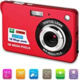 """Bosszi Fotocamera Digitale 18 Mega Pixel 2.7""""1280 × 720 HD Ricaricabile LCD e Videocamera Digitale per Studenti/Anziani/Bambini (rosso)"""