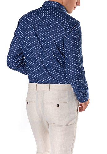 ETERNA long sleeve Shirt SLIM FIT Double fabric patterned Blu marino