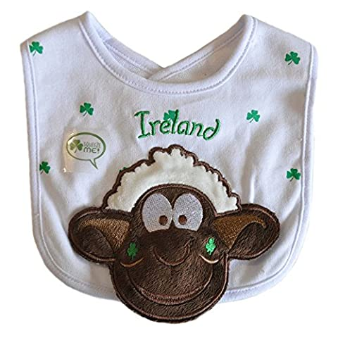 Seamus The Sheep White Squeaky Bib With Shamrock Design And Ireland Text