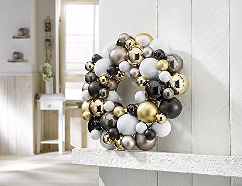 Dekorativer Weihnachtskugel-Kranz / Ø 33 cm / Türkranz / Deko-Kranz / Weihnachtsdekoration (Weiß-Gold)