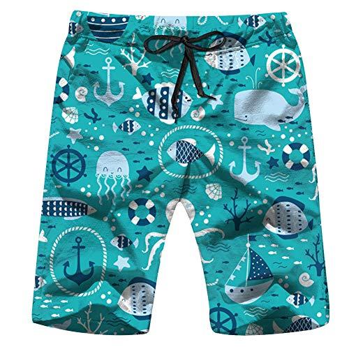 Men's Swim Trunks Underwater Fishes Octopus Animals Nature Quick Dry Beach Wear Shorts Swimwear with Pockets,XXL -