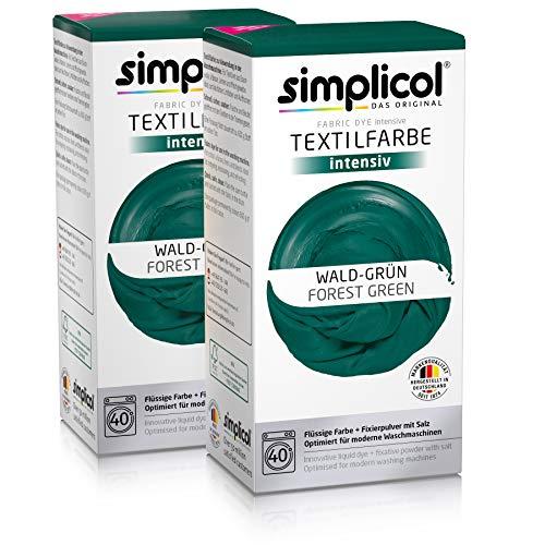 Simplicol Textilfarbe intensiv (18 Farben), Wald-Grün 1812 2er Pack, Dunkelgrün: Einfaches Färben in der Waschmaschine, All-in-1 Komplettpackung -