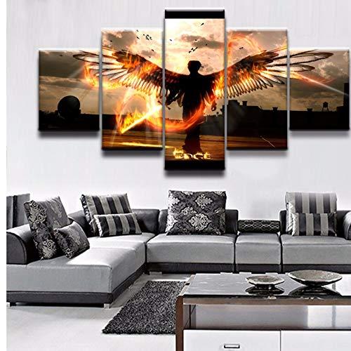 xzfddn 5 Stücke Animation Engel Poster Leinwand Malerei Modulare Bilder Home Dekorative Für Moderne Wohnzimmer Wandkunst Gedruckt Kunstwerk
