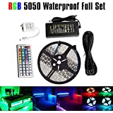 LED Strip Lights,Strip Lights,LED Flexible Ribbon Lighting Strip SMD 5050 Waterproof 16.4ft 5M 300leds RGB Color Changing Flexible LED Rope Lights With 44Key Remote +12V 5A Power Supply+IR Control Box