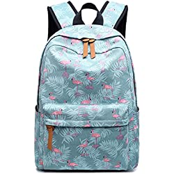 Mochila linda de las mujeres de la lona Kawaii Flamingos Animal Pattern Printing Girls Bookbags College Daily Blue