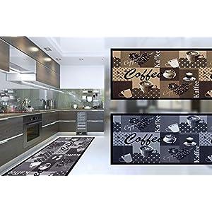 Küchenläufer Küchenteppich Teppichläufer Läufer Kaffee Cafe Coffee | waschbar