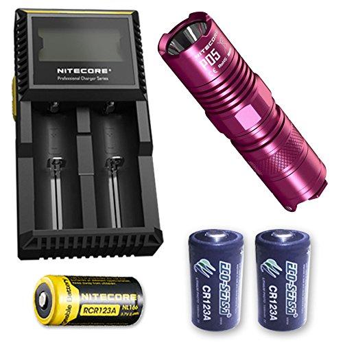 Nitecore P05 Selbstverteidigungs-Stroboskoplicht mit D2-Ladegerät, NL166 RCR123A + 2x Eco-Sensa Photo Lithium CR123A, P05-PINK-D2-NL166-2x-CR123A, rose