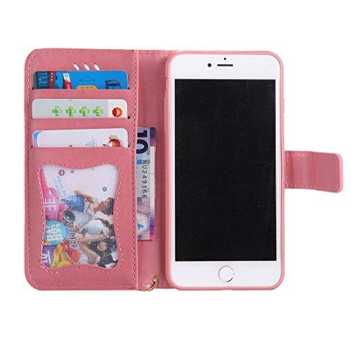 iPhone 7 Plus Custodia, Case del portafoglio [ Cuoio Premium PU ] iPhone 7 Plus Copertura Supporto per scheda di funzione del supporto per notebook e Slot Cover - farfalla Ragazza gatto ( Grigio ) rosa