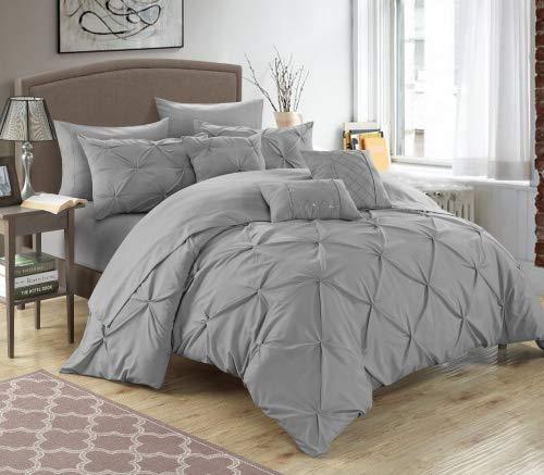 Chic Home Hannah Bettwäsche-Set mit Bettlaken, Plisseefalten, gerafft und gefaltet, für King-Size-Bett, Beige, Silber, King Size (Queen-size-bett-bag-sets)
