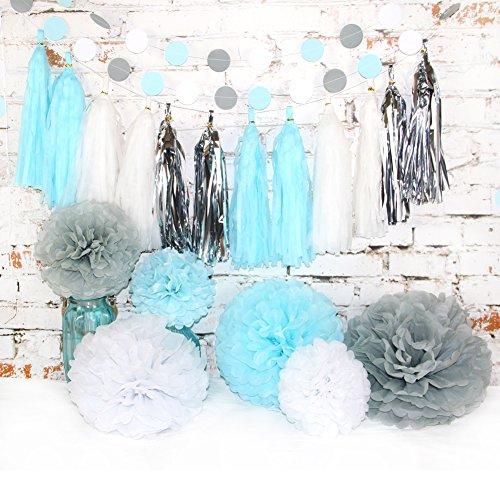 idenpapier Pompom Party Dekoration Kit, Papierblume Set mit Quaste und Girlande für Geburtstag/Party/Baby Dusche/Hochzeit (Baby-dusche-party-kit)
