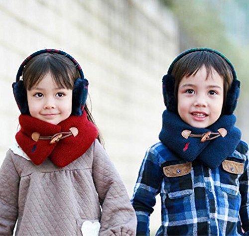 Zedtom Echarpe Tube Foulards en Tricot Avec Bouton en Bois Chaud Hiver Accessoire pour Enfants Filles Garçons Bleu foncé