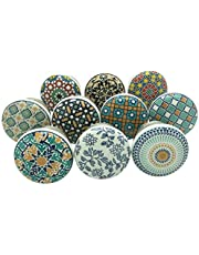 JP Hardware Positive Energy Vintage Shabby Chic Cupboard Drawer Ceramic Door Knobs Pull Handles (Multicolour) 40mm- Pack of 10