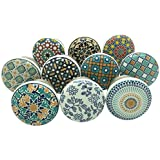 SHWETAIL Positive Energy Vintage Shabby Chic Cupboard Drawer Ceramic Door Knobs Pull Handles (Multicolour, 40 mm) - Pack…