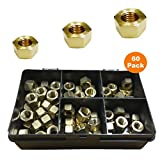 "60 x Brass UNF Imperial Exhaust Inlet Manifold Nuts 1/4"" 5/16"" 3/8"" & 7/16"""