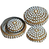 AIA India Jewelry Gift Silver Box Handmade Round Metal And Beaded Decorative Box For Jewelry Box Set Of 3 Pieces | Height 1.5 Inch