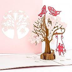 """Pop-Up Karte """"Butterflies in Love"""" - 3 D Hochzeitskarte, Liebe, Hochzeit Einladung, Verlobungskarte, Valentinstag, Liebespaar auf Schaukel, Geburtstagskarte"""