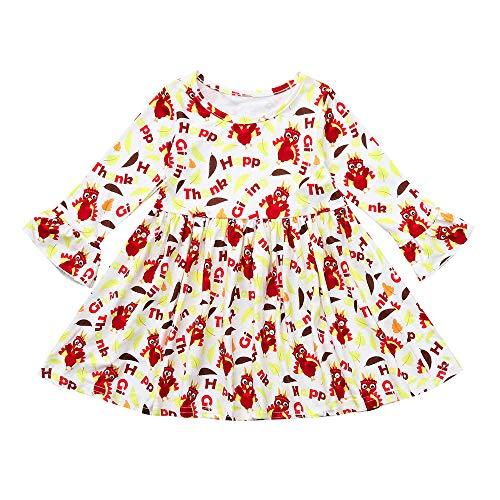 YEARNLY Kleinkind Kinder Baby Mädchen Türkei Thanksgiving Brief Print Kleid Kleidung Outfit Weihnachten Thanksgiving Langarm-Karikatur-Druck-Rüsche Kleid Rock