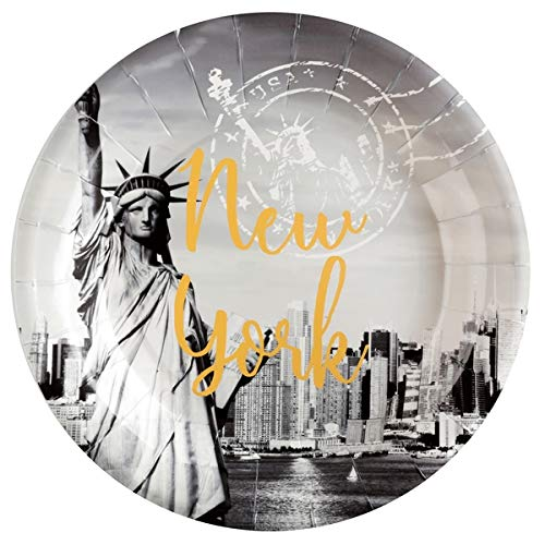 Santex Pappteller Weltstadt New York 10er Pack - Gelb Pappteller Grau Und