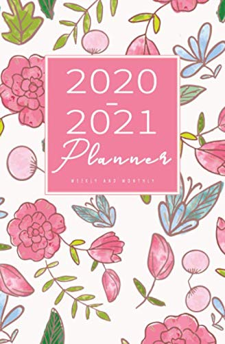 2020-2021 Weekly And Monthly Planner: Calendar Schedule, Squares Quad Ruled Notes, Dot Notes, No Holiday, Flowers Pink (January 2020 through December 2021) Pocket Size 5.25