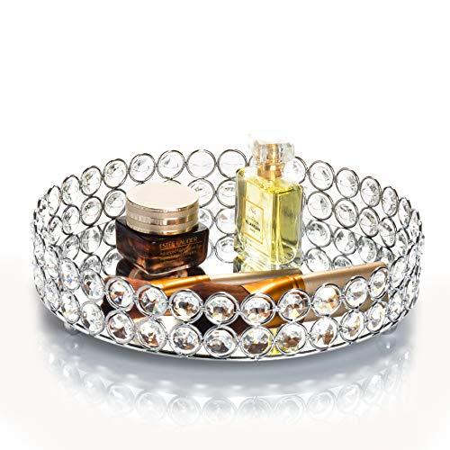 Feyarl Vassoio per cosmetici con perline di cristallo Organiser decorativo colore argento