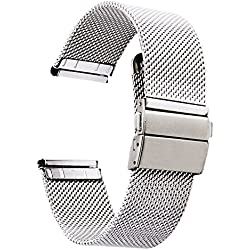 [ZHUGE] stainless Watch Straps - New style Double-Press Clasp Buckle watch band Milanese Mesh strap 18mm 20mm 22mm
