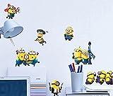 KK-Go Cartoon Minions entfernbare Wand-Kunst-Abziehbild-Aufkleber-DIY Wand-KUNST Abziehbild Selbstklebendes entfernbares PVC-Wand-Papier 30 * 60cm