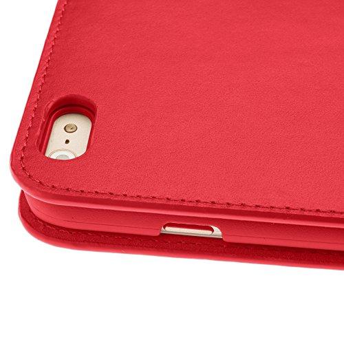 """ROMA Luxus Echt Ledertasche iPhone SE. Hülle Ultra Dünn iPhone 5S Premium Design Leder Tasche Case. iPhone 5 Lederhülle Echtleder mit unsere """"Doppelschild"""" Rundumschutz. Rot Personlised Scarlet Red"""