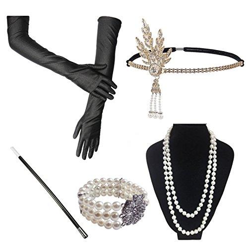 1920s Jahre Accessoires Flapper Set Stirnband Perlen Halskette Lange Schwarze Handschuhe Zigarettenspitze Great Gatsby Motto Party Kleider Damen Kostüm Accessoires,5 in 1 (Ruby)