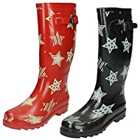 Ladies Spot On Star Print Slip On Rubber Wellington Boots X1044