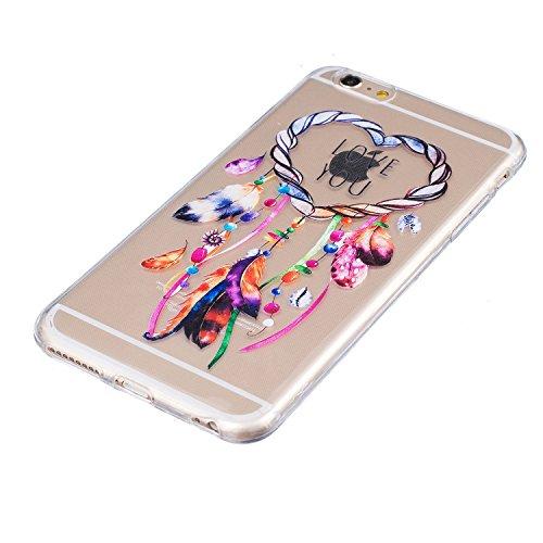 LuckyW TPU Handyhülle für Apple iPhone 6 plus/6s plus(5.5 zoll) Soft Silikon Tasche Transparent Schale Clear Klar Hanytasche Durchsichtig Rückschale Ultra Slim Thin Dünne Schutzhülle Weiche Flexibel K Traumfänger