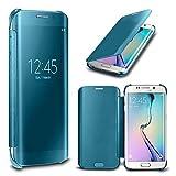N4U Online - Luxury Spiegel Smart Fenster Klar Flip Case Hülle Für Samsung Galaxy S6 & S6 EDGE - Samsung Galaxy S6 Edge Plus (Hellblau)