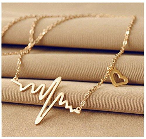 Honeysuck Fashion Gold Mädchen Love Herzförmige Kette HERZSCHLAG Rhythmus Halskette Zubehör