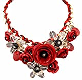 Fashion Colorful Flower Jewels Pendant Shirt Decoration Cord Necklace Red