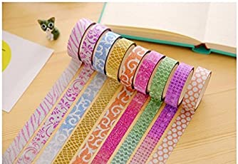 CraftDev Colourful Decorative Adhesive Glitter Tape Rolls, Length 3m Each, Set of 10